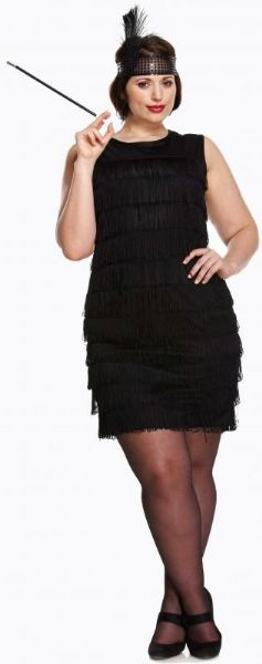 Adult Ladies Plus Size Flapper Costume for 20s Gangsters Moll Fancy Dress UK 16-18